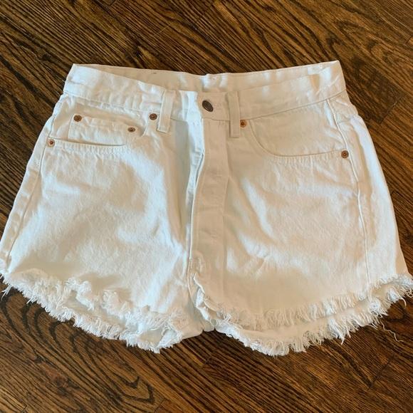 Levi's High Waisted Vintage White Denim Shorts